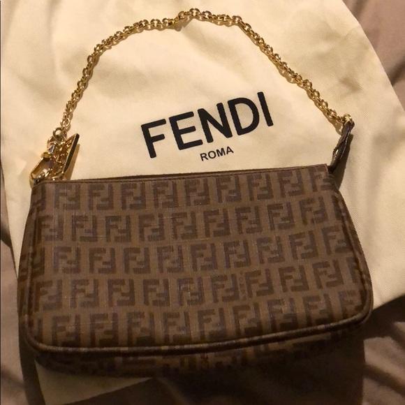 196abda9a74f Fendi Handbags - Fendi Mini Chain Zucca Pochette Bag Brown